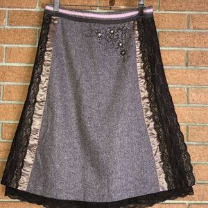 🎭ANTHROPOLOGIE🎭EVEVENSES TWEED AND LACE SKIRT🎭